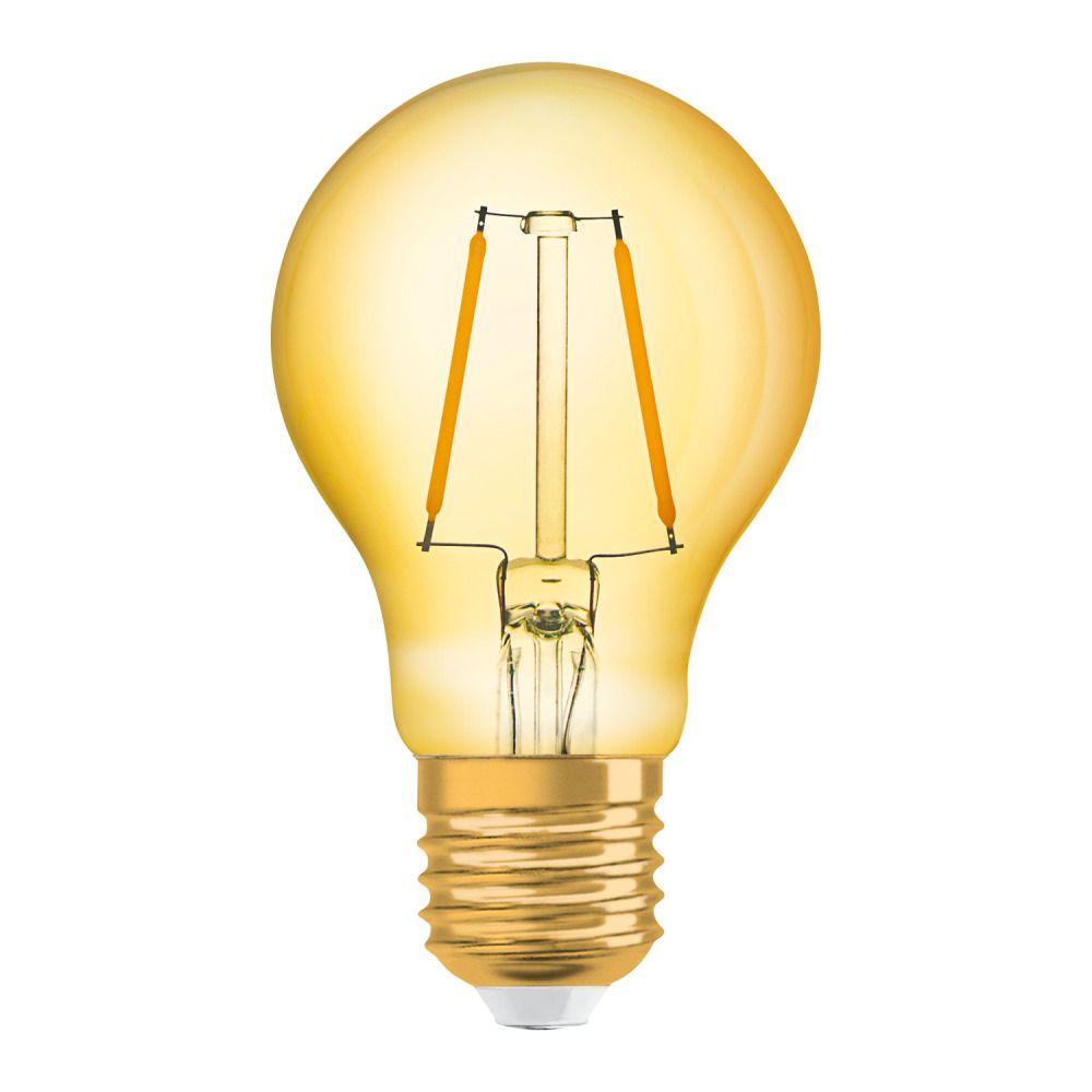 Osram Vintage 1906 LED Classic E27 A 2.5W 824 Filament Guld | Extra Varm Vit - Ersättare 22W