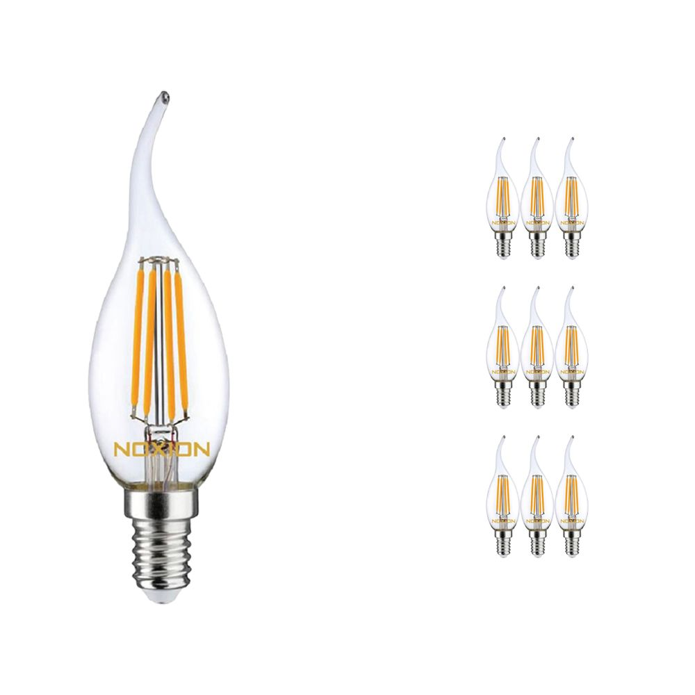 Flerpack 10x Noxion Lucent Filament LED Kronljus 4.5W 827 BA35 E14 Klar | Dimbar - Extra Varm Vit - Ersättare 40W
