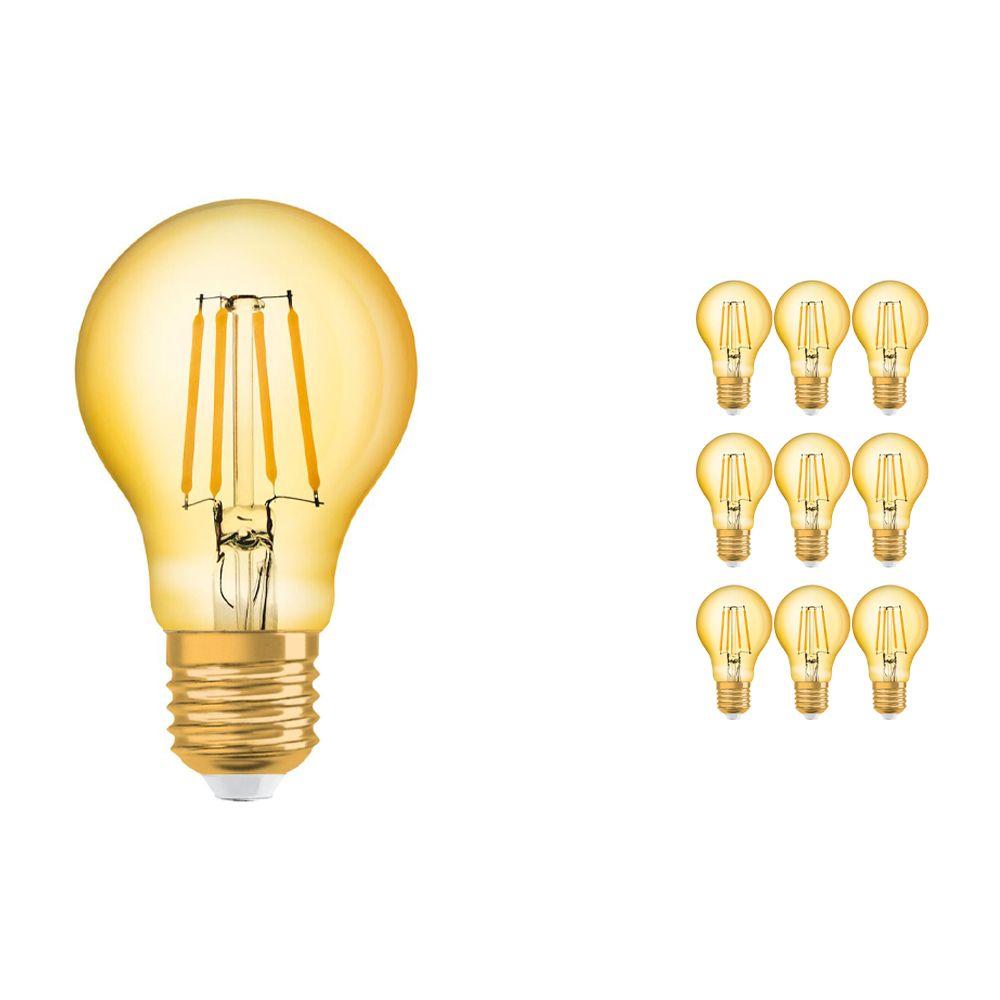 Flerpack 10x Osram Vintage 1906 LED Klassisk E27 A 4W 824 Filament Guld | Extra Varm Vit - Ersättare 35W