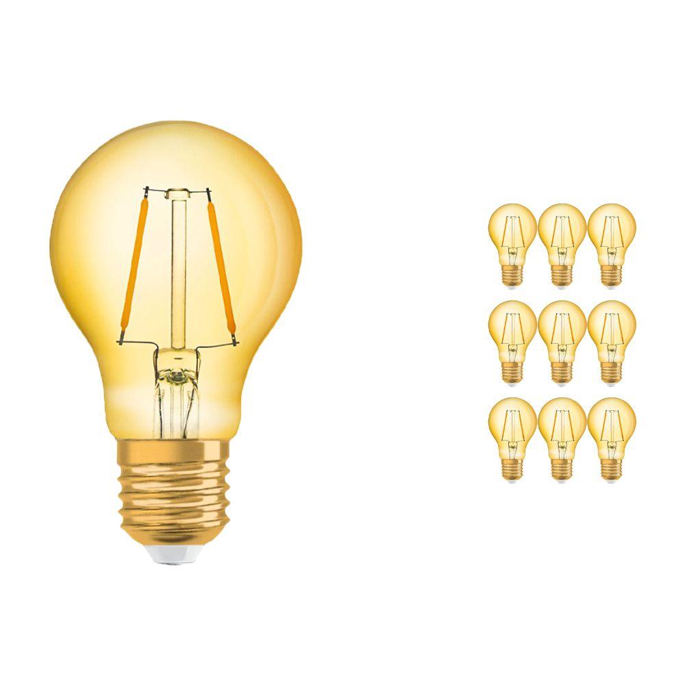 Flerpack 10x Osram Vintage 1906 LED Klassisk E27 A 2.5W 824 Filament Guld | Extra Varm Vit - Ersättare 22W