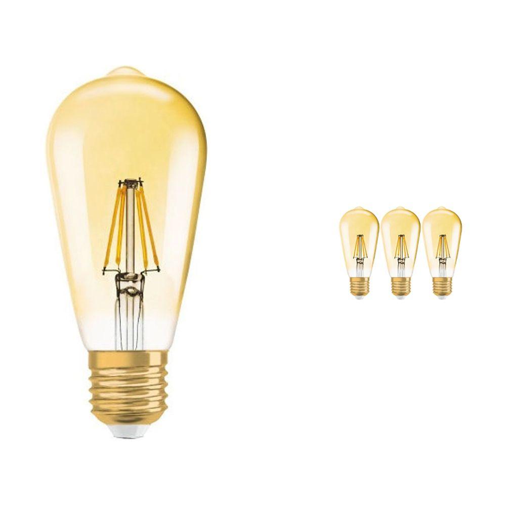 Flerpack 4x Osram Vintage 1906 LED E27 Edison 7W 825 Guld | Dimbar - Ersättare 50W