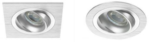 fyrkantiga och runda infällda LED-spotlights